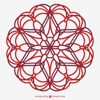 Ornement d'art en ligne floral de vecteur