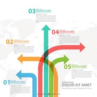 Différentes voies flèches infographie