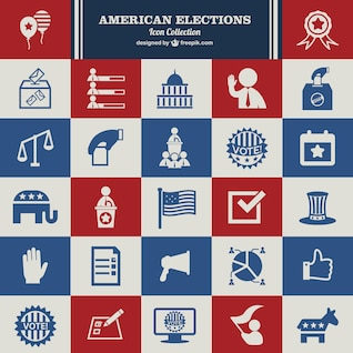 Vecteur des élections usa ensemble d'icônes
