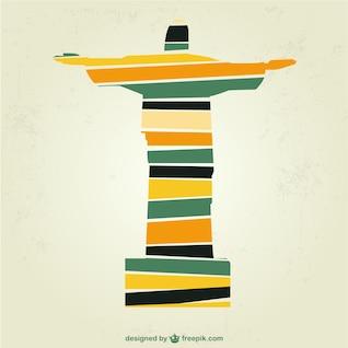 Christ Rédempteur au Brésil vecteur art