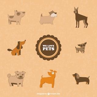 Symboles chiens mignons vecteur