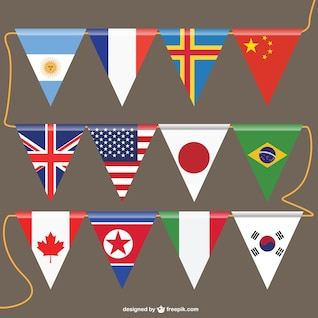 Vecteur drapeaux modèle gratuit