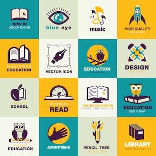 éducation icônes Flat Pack