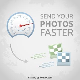 Vecteur des photos du compteur de vitesse de transfert