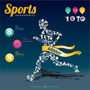 Modèle de champion du infographie de sport
