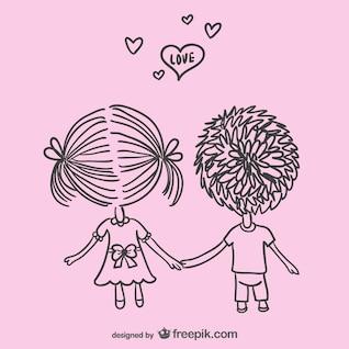 Jeune amour dessin vectoriel