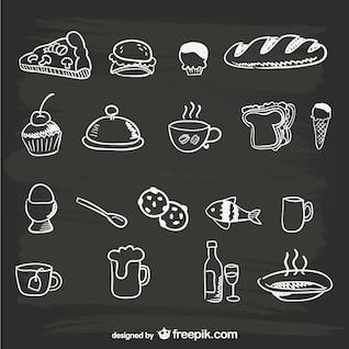 Menus graphiques de nourriture dessinés à la main