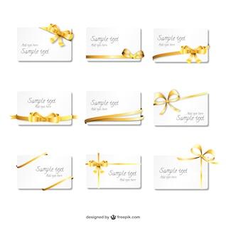 Belles cartes de ruban d'or