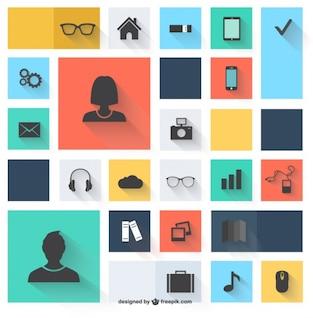 Vecteur icônes design plat