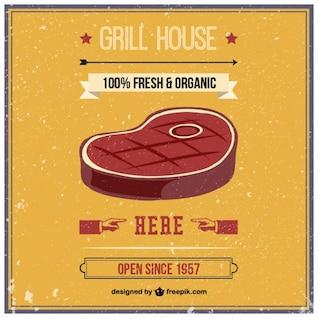 Grill house rétro vecteur