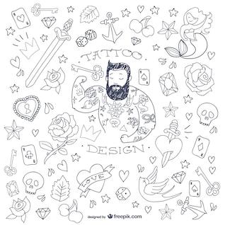 Symboles homme de tatouage de griffonnage