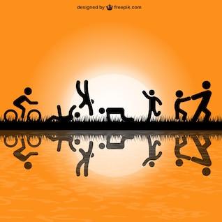 Des silhouettes de personnes exercent dans le parc Vvector