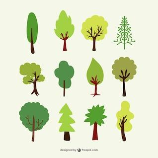 Arbres forestiers vecteur ensemble