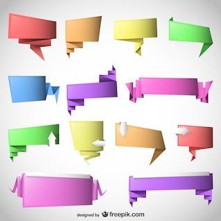 La parole d'origami bulles vecteur modèle ensemble