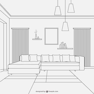Conception salle de style linéaire de vie