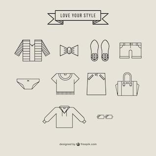 Icônes de vêtements de vecteur libre