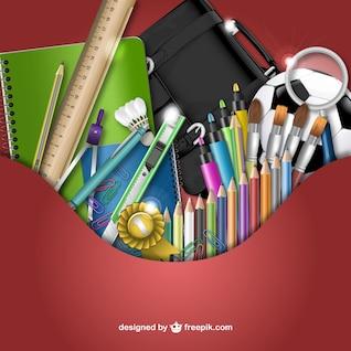 3d fournitures scolaires vecteur
