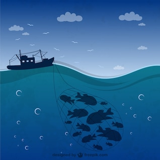 Bateau de pêche silhouette