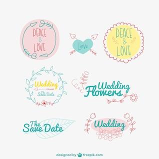 Mariage et amour badges dessinés à la main