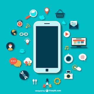 Smartphones avec des icônes vecteur
