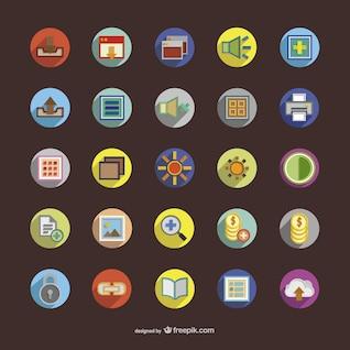 Rondes icônes colorées,