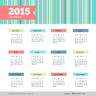 Coloré calendrier 2015