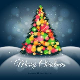 Arrière-plan avec l'arbre de Noël coloré