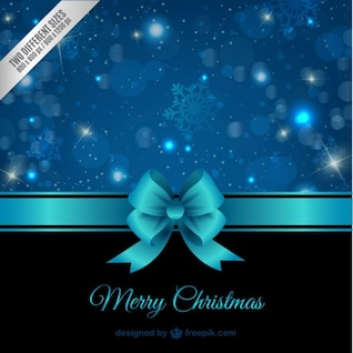 Carte de Noël avec ruban bleu