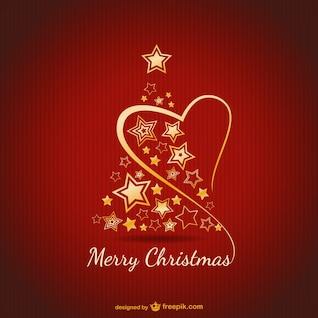 Carte de Joyeux Noël avec des ornements d'or