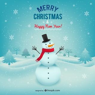Carte de Joyeux Noël avec bonhomme de neige