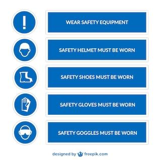 Signes de sécurité du pack de vecteur