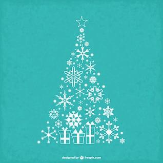 Arbre de Noël vintage avec des flocons de neige