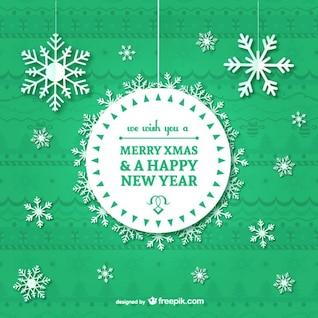 Carte de Noël vintage avec des flocons de neige