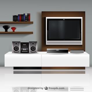 Salon tv illustration vectorielle avec