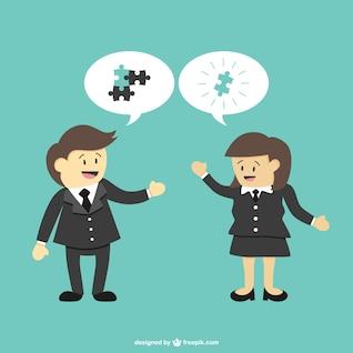 Gens d'affaires et des pièces de puzzle