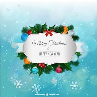 étiquette de Joyeux Noël avec des ornements