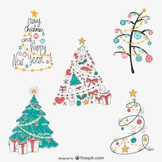 Noël dessins d'arbres emballent