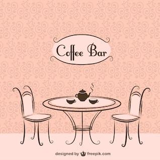 Chaises de bar à café et une table