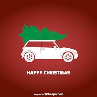 Carte de Noël avec la voiture