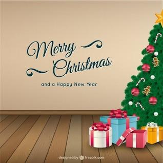 Carte de Noël avec l'arbre et des cadeaux