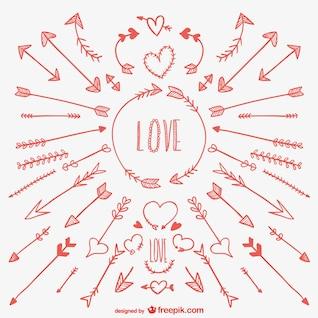 Des flèches d'amour dessins