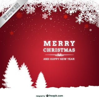 Rouge et blanc carte de Noël avec des arbres silhouettes