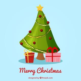 Carte de Noël avec l'arbre de dentelle vert