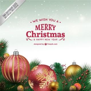 Carte de Noël avec des boules scintillantes