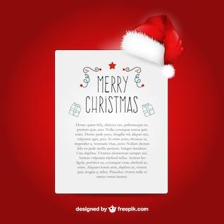Modèle de lettre de Noël avec le Père Noël chapeau