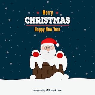 Carte de Noël avec le Père Noël et cheminée