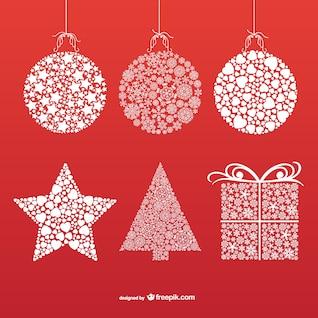 Décorations de Noël avec des flocons de neige et les étoiles