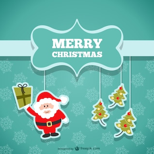 Carte de Noël avec le Père Noël et arbres
