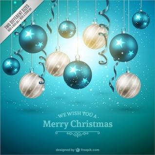 Fond de Noël avec des boules blanches et bleues
