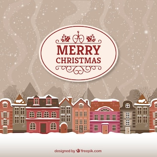 Carte Joyeux Noël avec paysage urbain